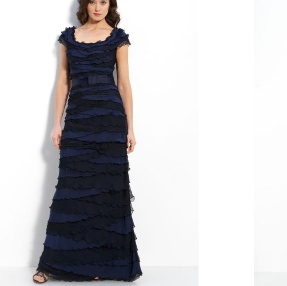 Tadashi Shoji layered tiered chiffon gown 14